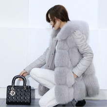 2018 New Autumn Winter Faux Fox Fur Coat Loose Skirt Type Imitation Fur Vest In Middle Long Large Size XXXL Women Leather Jacket