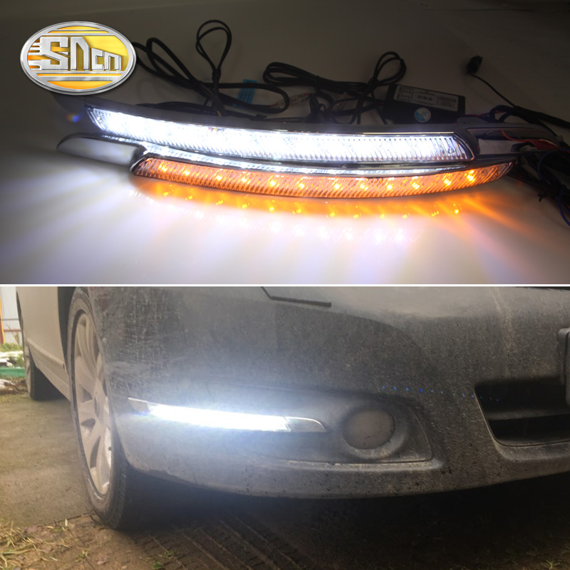 SNCN 2PCS LED Daytime Running Light For Nissan Teana J32 2008 - 2013 Turning Yellow Signal Relay Waterproof Car 12V LED DRL 12v led car drl turning signal