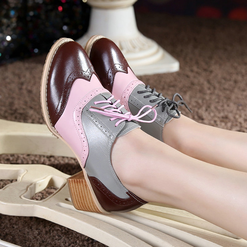 Brockden Handmade Spring Thick Heel Genuine Leather Shoes Lacing Color Block Decoration Vintage British Style Large