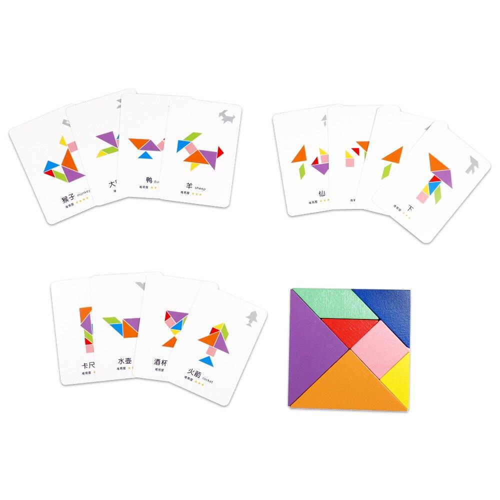 65 pièces cartes + 2 pièces Tangram En Bois Montessori Puzzle Écriture Planche à Dessin Bébé Enfants Apprenant En Développement jouets Éducatifs - 6