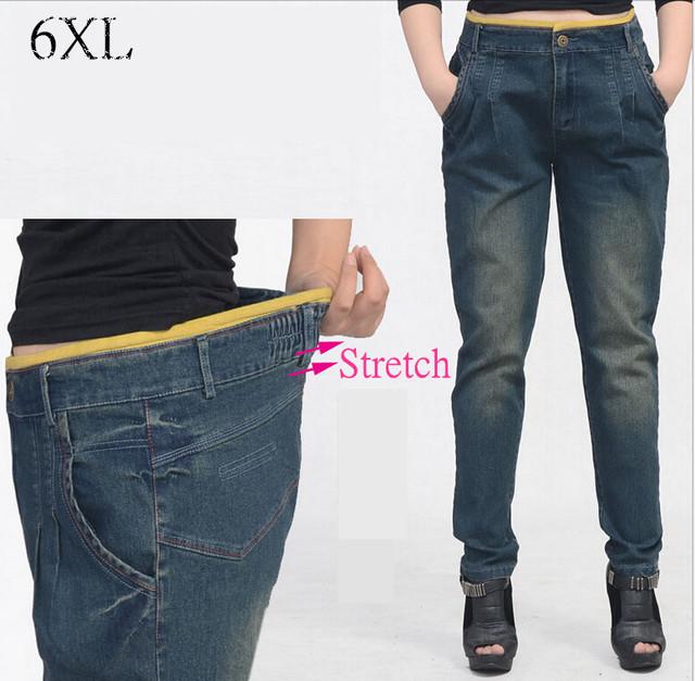 6 EXTRA GRANDE das Mulheres Calça Jeans de Cintura Alta Jeans Mulheres Coreanas Harlan Nostalgia Jeans Calças Lápis Elástica Calça Jeans Cintura Elástica