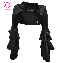 Black Satin Long Butterfly Sleeve Victorian Corsets And Bustiers Gothic Bolero Sexy Corset Coat Burlesque Steampunk Jacket Women