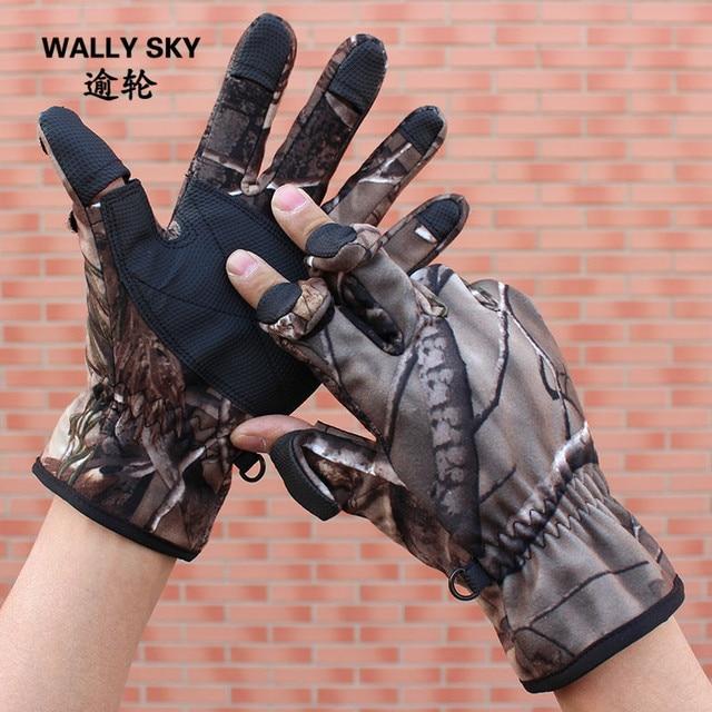 US $15.01 5% OFF Camouflage Jagd Handschuhe Flip Drei Finger Handschuhe Wasser beständig Winddicht Outdoor Fotografie Angeln Handschuhe in Camouflage
