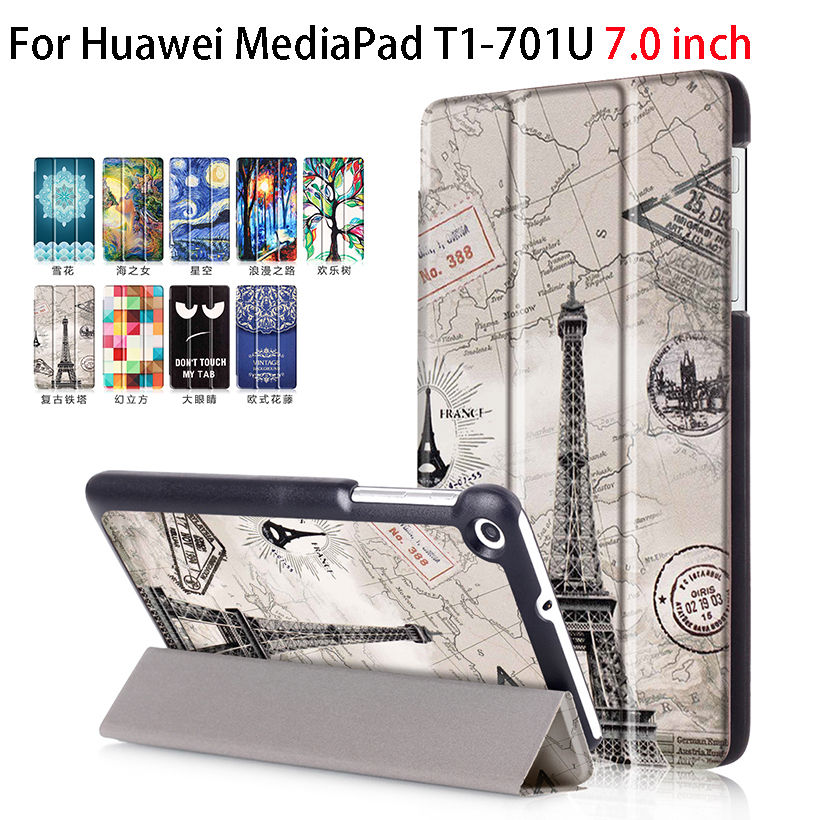 Fashion For Huawei T1 7.0 T1-701U PU Leather Cover Case Funda For Huawei Mediapad T1 7.0 T1-701U Tablet Skin Stand Magnetic Case