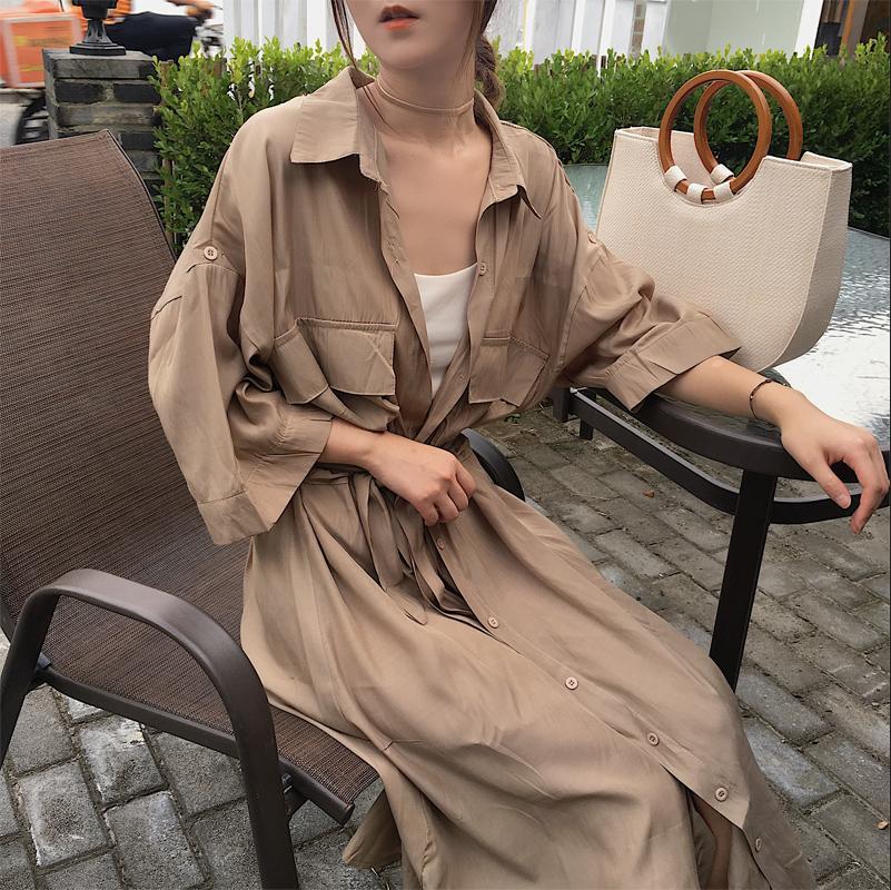 Women Cardigan Pocket Half Sleeve Brown Dress Oversize Collar Buttons Long Shirt Dresses Women Casual Dress Robe Femme Vestido