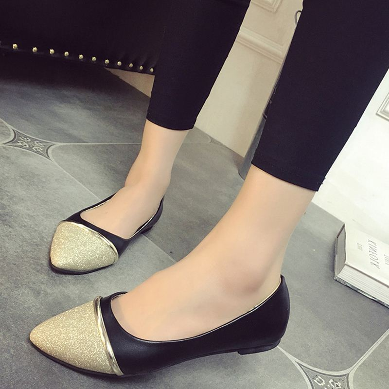 Spring Autumn Fashion Women Shoes Pointed Toe Slip-On Flat Shoes Woman Comfortable Single Casual Flats Size 36-39 zapatos mujer women flats slip on casual shoes 2017 summer fashion new comfortable flock pointed toe flat shoes woman work loafers plus size