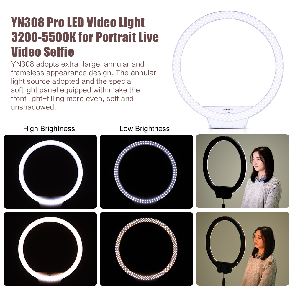 EMS-Free-YONGNUO-YN308-Selfie-Ring-Light-3200K-5500K-Bi-Color-Temperature-LED-Video-Light-Wireless