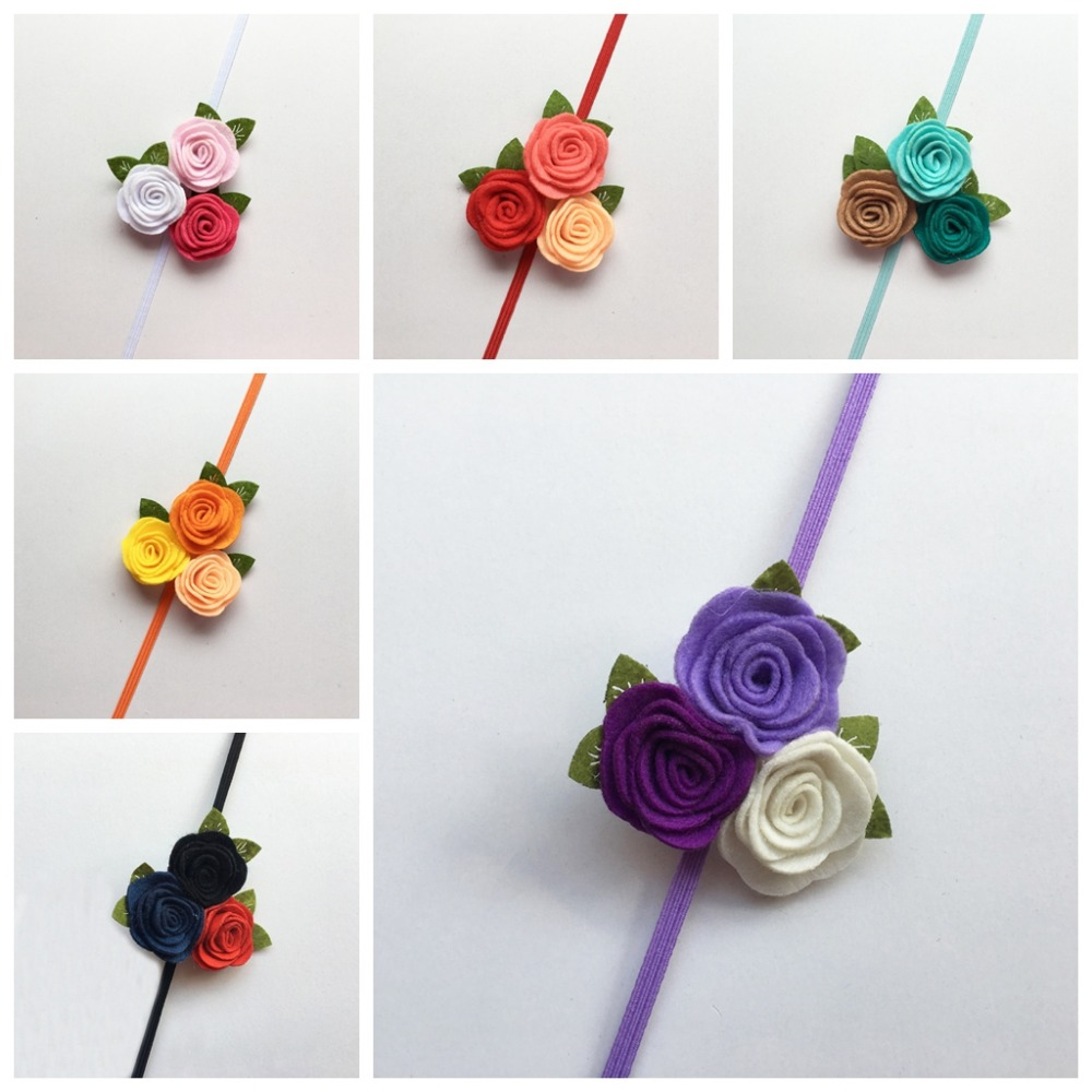 Triple Rose Flower Hairband , Felt Roses with Leaves Bouquet Headband, Photo Props 2016 new wholesale felt rose flower with leaves headband girls hair accessories diy findings