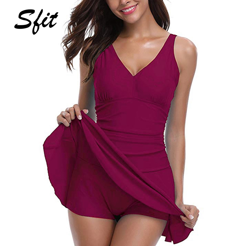 Sfit Women Plus Size Swimwear  Swim Dress -Pieces Swimsuit With Flared Skirt  Female Bathing Suit Monokini Dress(China)