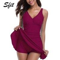 b19c4fcab Sfit Women Plus Size Swimwear Tummy Control Swim Dress One Pieces Swimsuit  With Flared Skirt Female