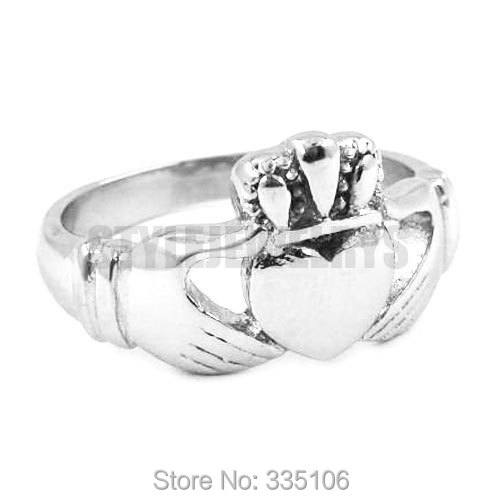 claddagh style hand to hold a heart with crown ring stainless steel jewelry - Biker Wedding Rings