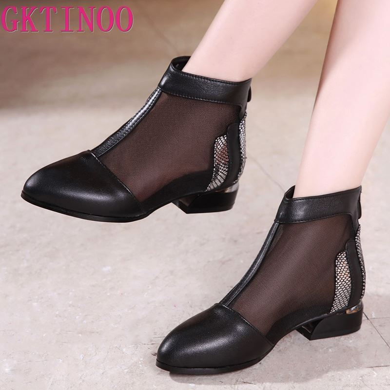 GKTINOO 2019 New Summer Ankle Boots Genuine Leather Shoes Women Sandals High Heels Mesh Women Shoes