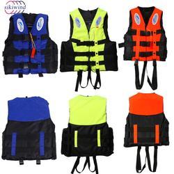 Gilet de sauvetage veste natation nautisme Ski dérive gilet de sauvetage Polyester adulte enfants universel en plein air survie costume avec sifflet