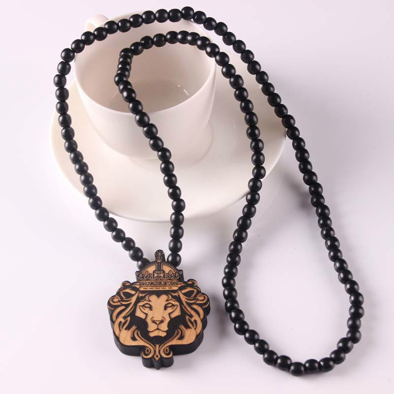 Animal laser engraved pendant wooden bead necklace solid wood lion animal laser engraved pendant wooden bead necklace solid wood lion pendant hiphop necklace x 1 in pendants from jewelry accessories on aliexpress aloadofball Image collections