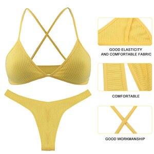 Image 4 - 2020 מכירה לוהטת נשים הלבשה תחתונה סט מוצק צבע V צוואר גבירותיי Bralette חוטיני סט פסים כותנה צלב חזרה נשי תחתוני סט