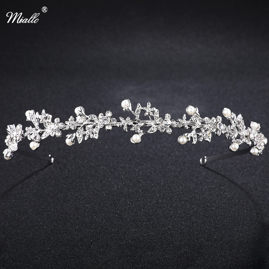 Miallo Crystal Rhinestone Crown Tiaras Wedding Hair Accesories Pageant Prom Charms Bride Headband Wedding Jewelry Hairwear