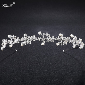 Miallo Crystal Rhinestone Crown Tiaras Wedding Hair Accesories Pageant Prom Charms Bride Headband Wedding Jewelry Hairwear
