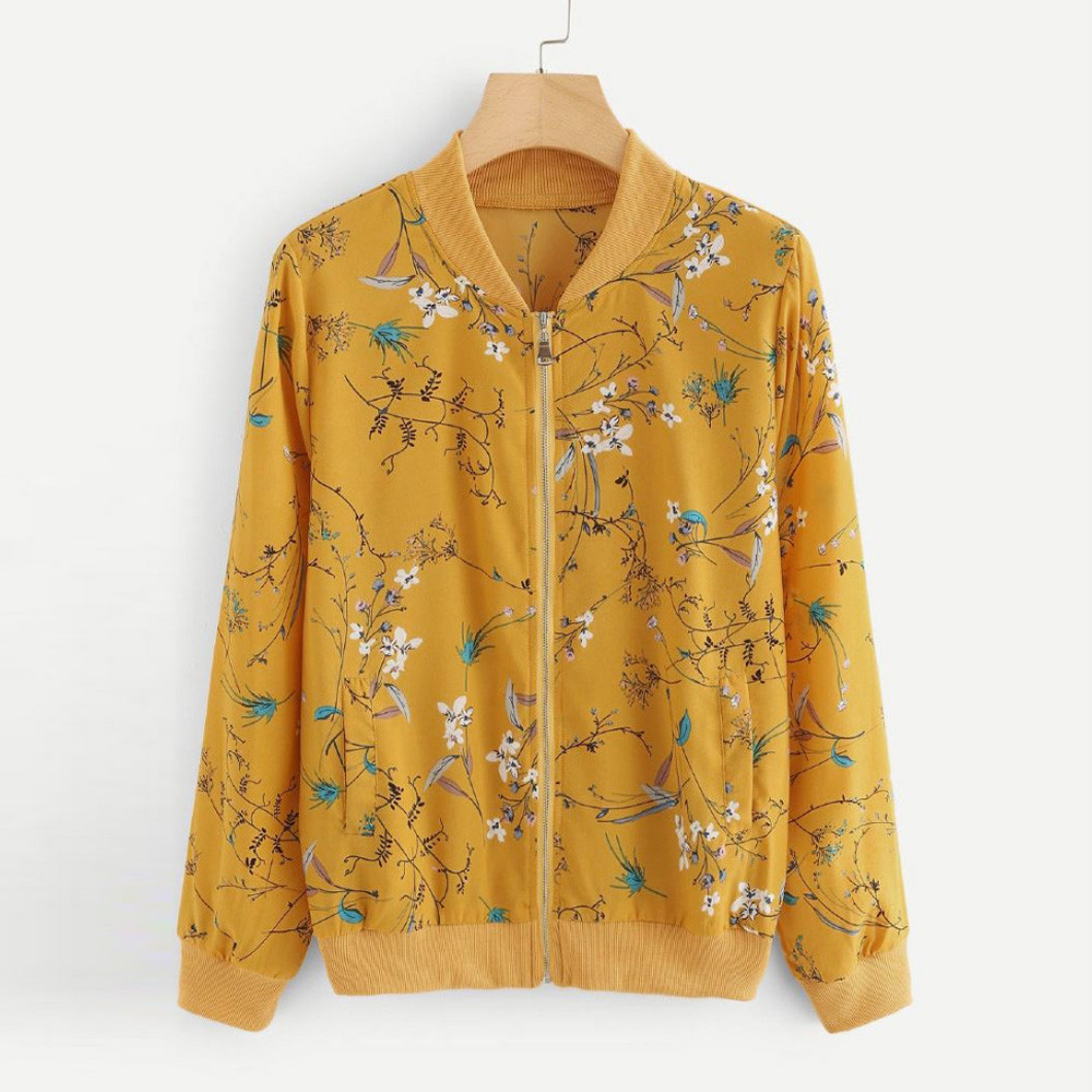Fashion Women Fashion Bomber Jacket Casual Zipper Up Flower Printed Baseball Coat Ladies Autumn Outwear Women Tops Yellow 3.25