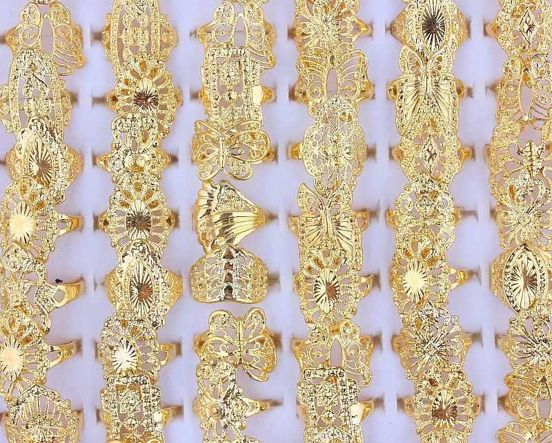 QianBei Großhandel 20 stücke Mischen Hochzeit Gold Farbe Ringe Engagement Blume Ring Modeschmuck Für Frauen Großen Ring