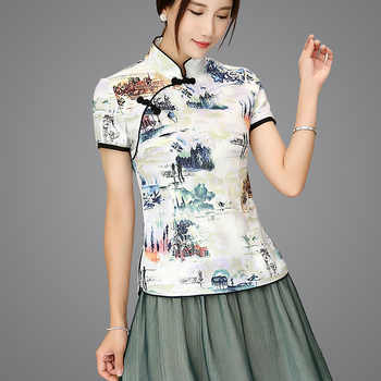 Shanghai Story Blend Linen Chinese Traditional Top Qipao Shirt for Woman Cheongsam Style Shirt Chinese Blouse for Ladies - DISCOUNT ITEM  34% OFF All Category