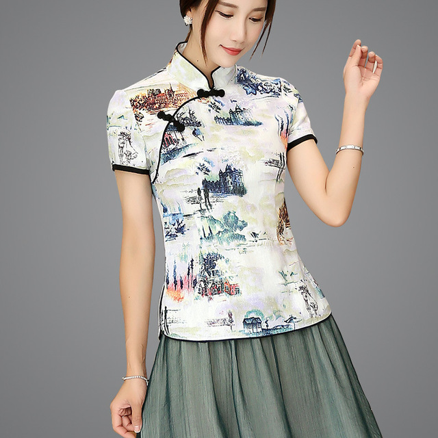 c3c047b585e Shanghai Story Blend Linen Chinese Traditional Top Qipao Shirt for Woman  Cheongsam Style Shirt Chinese Blouse for Ladies
