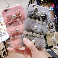 For IPhone 6 6S 7 Plus Luxury Girl S Fashion Cute Colorful Plush Fur Ball Pearl