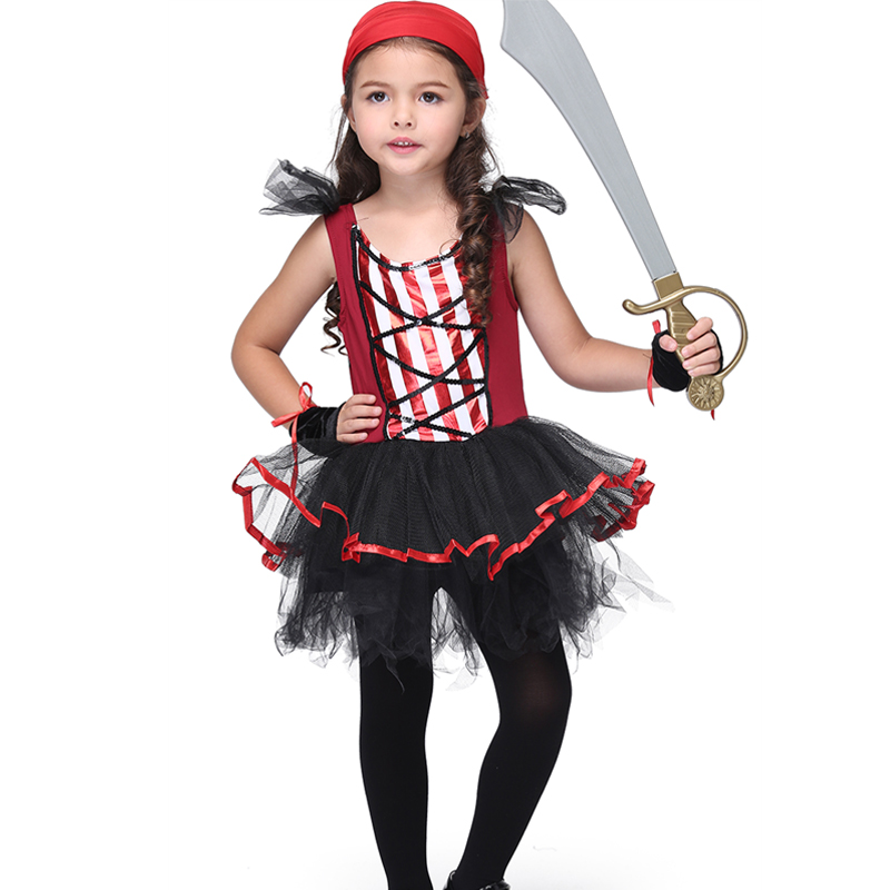 Christmas Gifts Girls Pirate Costumes Halloween Party Cosplay Outfits For 3-11Y Children Kids Fancy Dress Girl Clothes