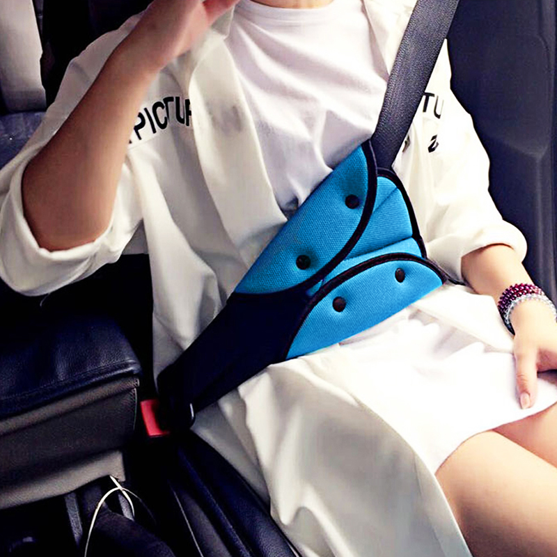 Soft Baby Child Car Safety Belt Adjustable Triangle Shape Child Protection Auto Baby Safety Seat Belt Strap Children Blue
