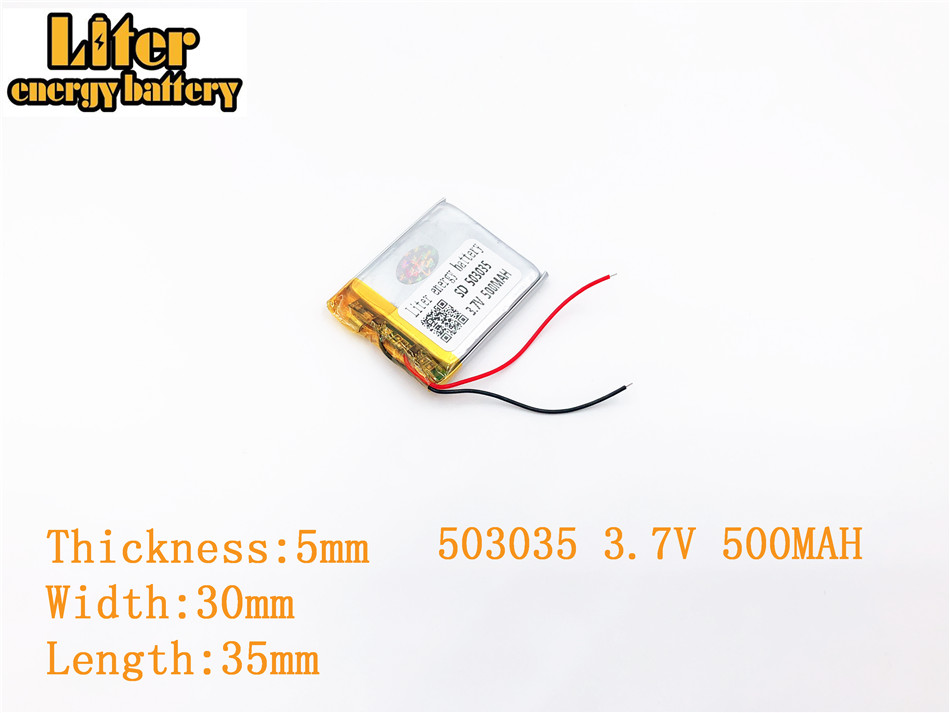 1Pcs 3.7V 500mAh Lithium Polymer Battery 3 7V Volt 503035 Li po ion Lipo Rechargeable Batteries for DVD GPS Navigation image