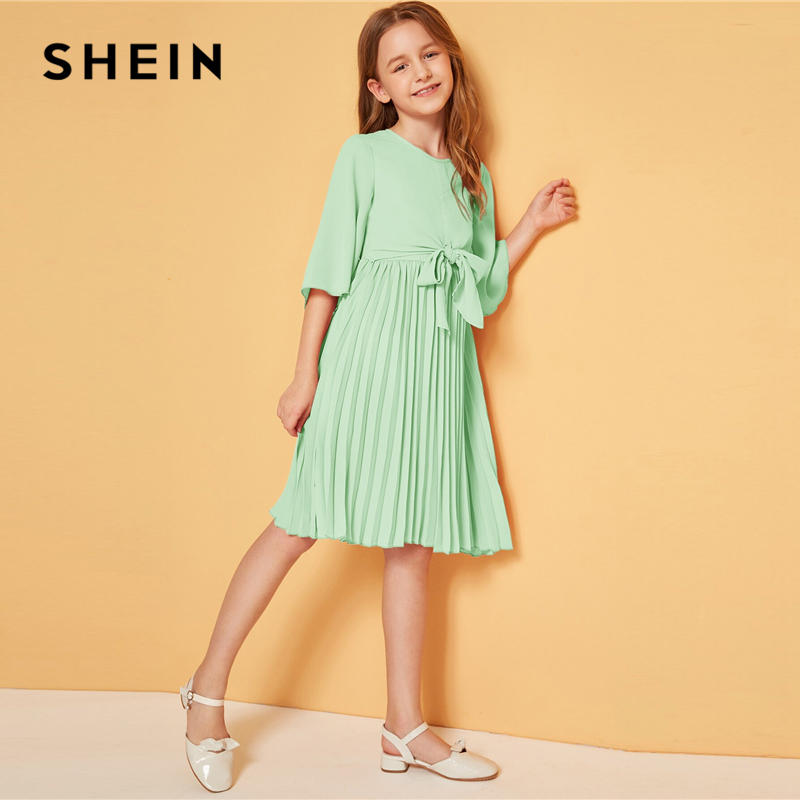 Image 3 - SHEIN Kiddie Solid Tie Front Pleated Girls Cute Dress Kids 2019 Summer Flounce Sleeve A Line Children Knee Length Dresses-in Dresses from Mother & Kids