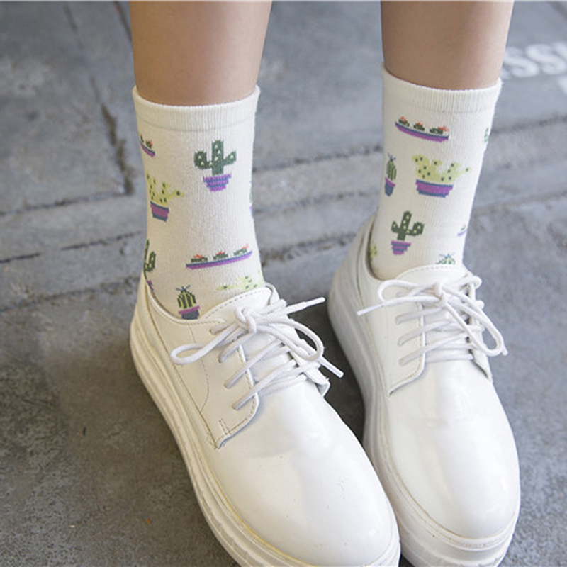 Plant Cactus Pattern Women Girls Socks Cotton Comfortable Lovely Cute Socks Casual Chaussette Warm Calcetines Sox Socks