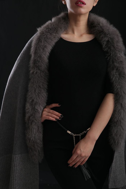 cashmere scarf shawl winter women scarves fur trimmed cashmere knitted cape with genuine fox fur cashmere cape F1115