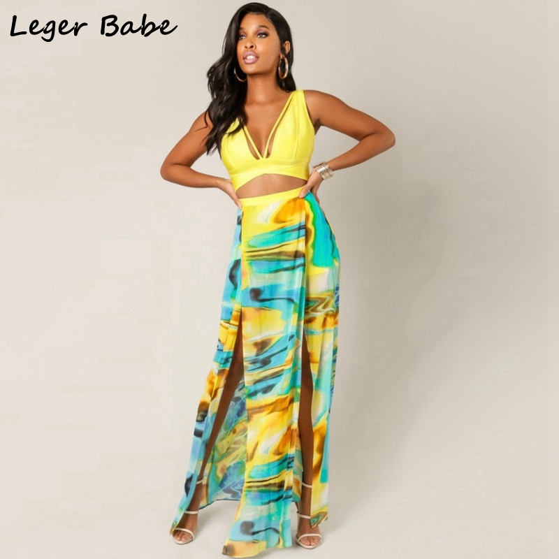 Leger Babe Sexy V-Neck Bandage Dress Maxi High Split Dress Hollow Out Party Casual Dresses Women Backless Sundress Chiffon Print ...