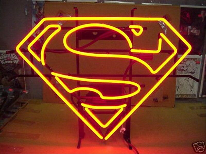 """17*14 """"superman Logo Iron Man Neonzeichen Real Glas Bier Bar Pub Licht Zeichen Shop-display Restaurant Shop Werbung Lichter"""