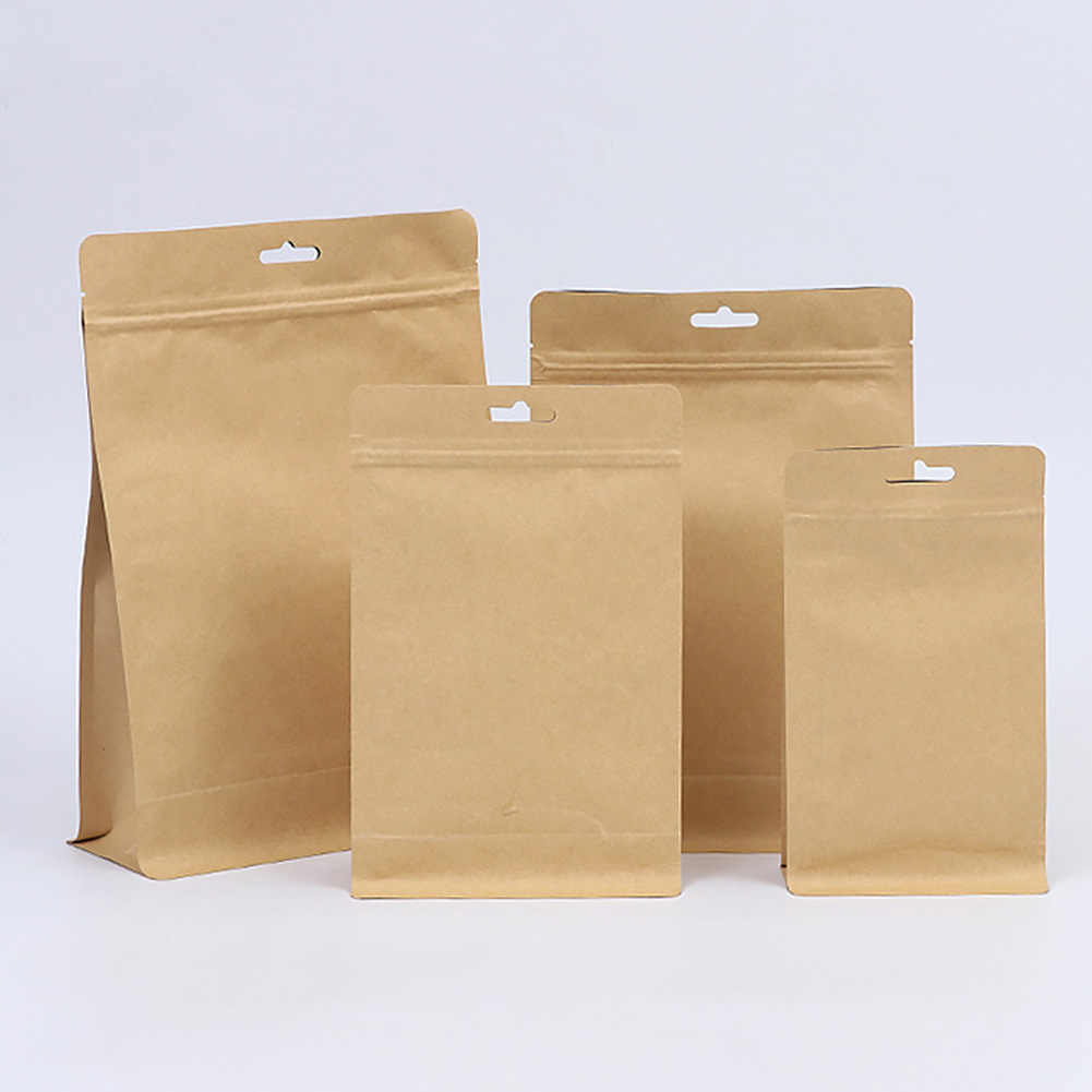 20pcs Foil Coffee Beans Resealable Food Storage Reusable Stand Up Zip Lock Candy Biscuits Kitchen Pouch Packaging Paper Bag