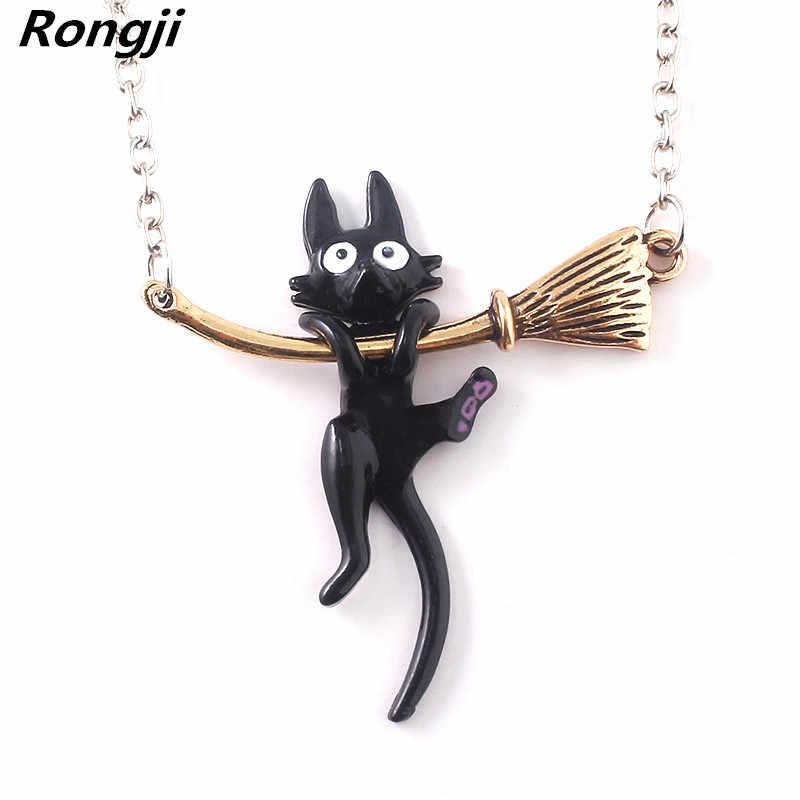 Miyazaki Hayao Kiki's Delivery Service สีดำแมวจี้สร้อยคอเคลือบแฟชั่นเครื่องประดับ