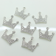 5pcs/lot Silver Rhinestone Imperial Crown Buttons Flat back Crystal Snap for Wedding Girls Hair Handmade Accessories