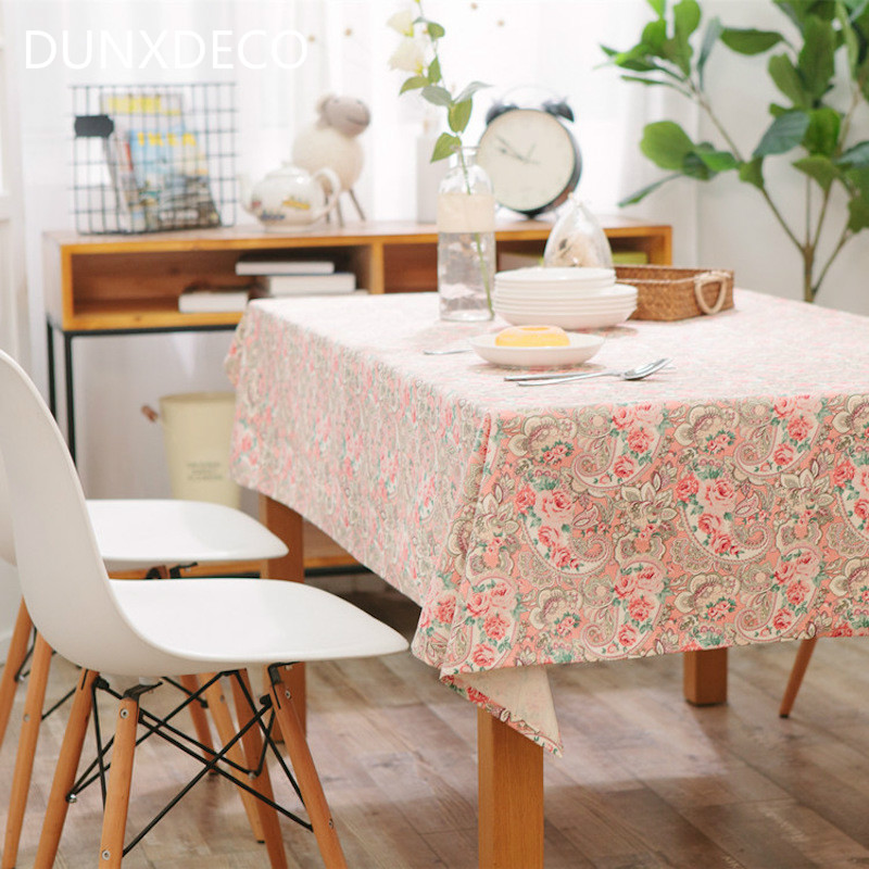 Dunxdeco Tablecloth Cotton Table Cover Fabric Fresh Flora Pink Paisley Canvas Home Party Dinner Des Decoration In Tablecloths From Garden On