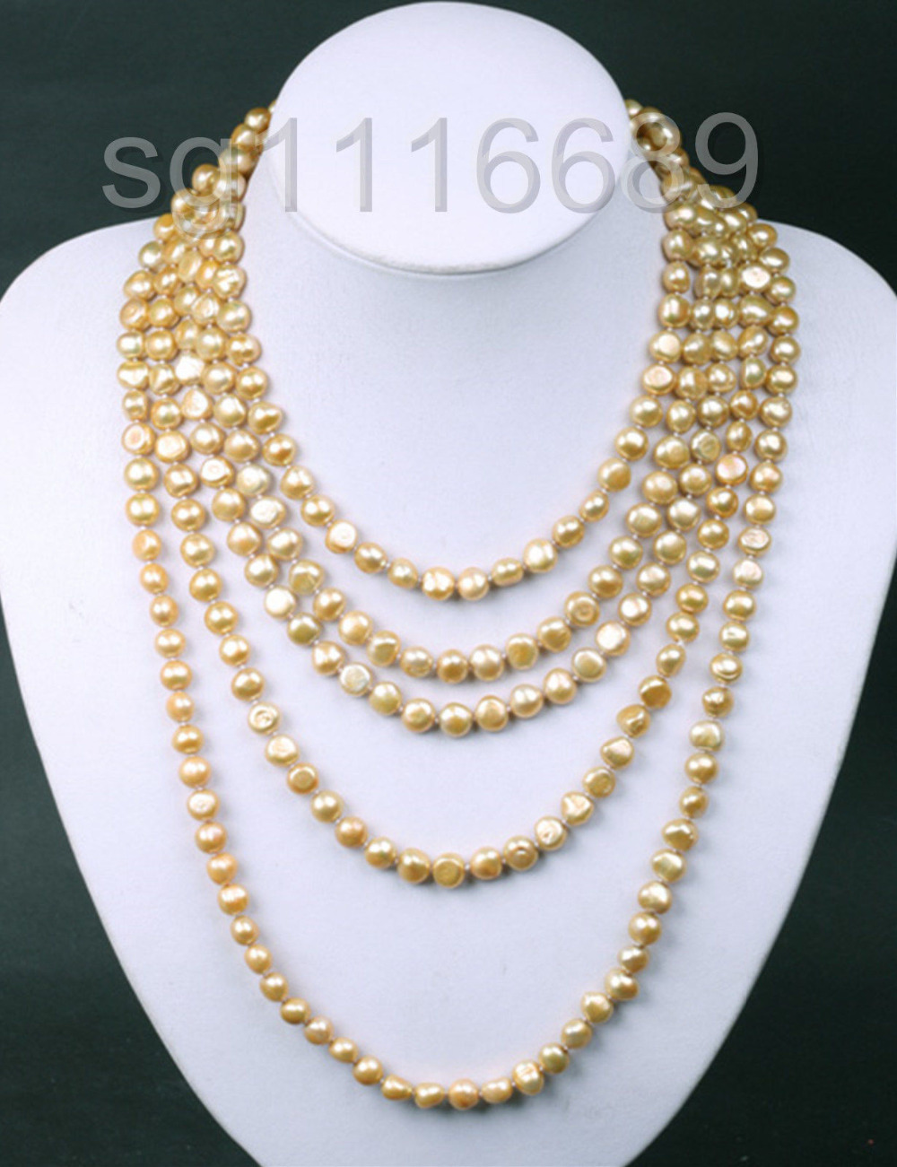 Chaîne de collier de perles d'eau douce de culture Baroque en or clair de 100