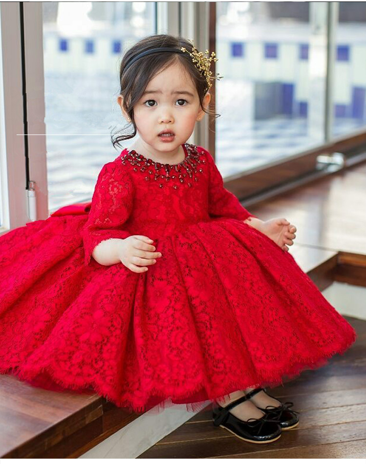 Red Tulle Baby Girl Dress Long Sleeve Baptism Dress for Girls 1st year birthday party wedding