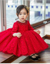Red Tulle Baby Girl Dress Long Sleeve Baptism Dress for Girls 1st year birthday party wedding Gown Christening infant clothing baby favorite long sleeve pirncess girls dress floral wedding party thick dress for winter new year gift for baby girl children