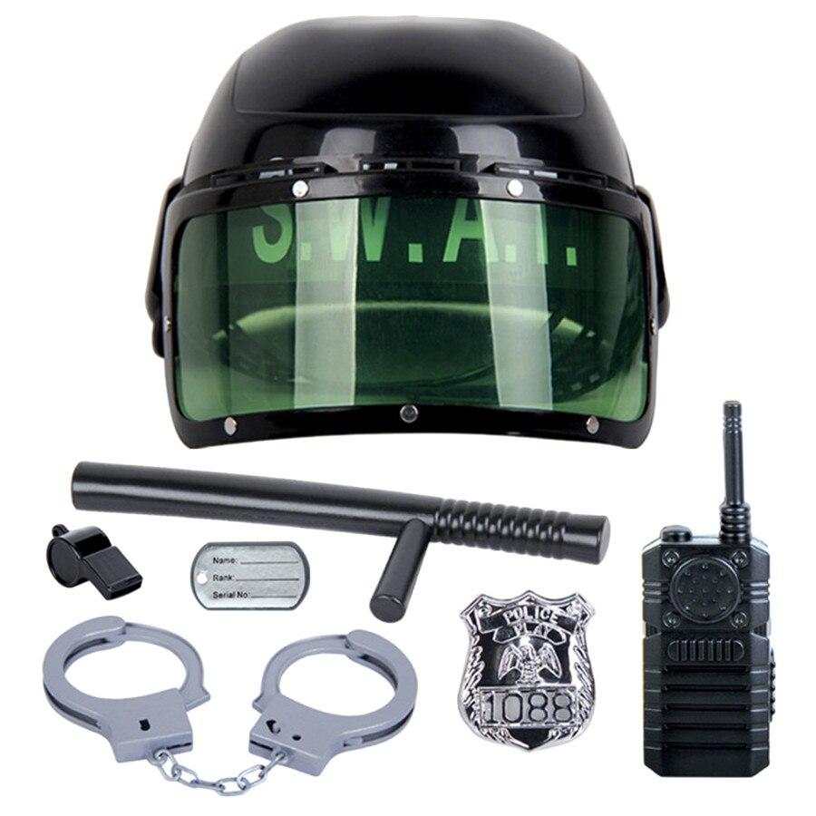 7 teile/satz kinder spielzeug Riot Polizei Hut Cosplay Kinder Helm Cop Handschellen Walkie Talkie Abzeichen Pretend Spielen Haus Spielzeug für kinder