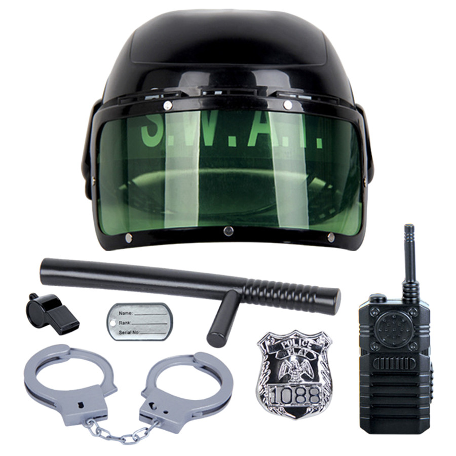 цена на 7Pcs/set kids toys Riot Police Hat Cosplay Kids Helmet Cop Handcuffs Walkie Talkie Badge Pretend Play House Toys for children