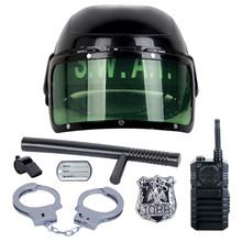 7Pcs set kids toys Riot Police Hat Cosplay Kids Helmet Cop Handcuffs Walkie Talkie Badge Pretend