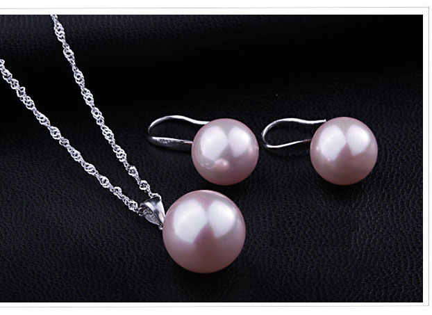 Jewely Sets Pure Genuine Real 925 Sterling Silver  Pearl Pendant Necklace Earring Set Women Party Gift Mix Colors