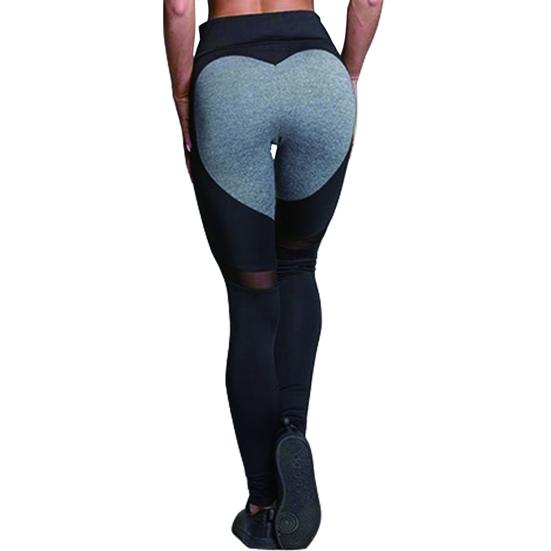 Hayoha Fashion Heart Pattern Mesh Splice Leggings Athleisure Fitness Clothing Elastic Leggings Women Pants