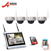 ANRAN 4CH Wireless CCTV System 12 LCD Wifi NVR 720P HD H 264 Outdoor IR Night