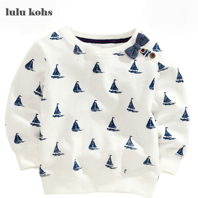 New 2017 Brand Quality 100% Terry Cotton Sweater Shirt Baby Boys Clothes Children Clothing Kids Sailboat for t shirt Blouse Boy