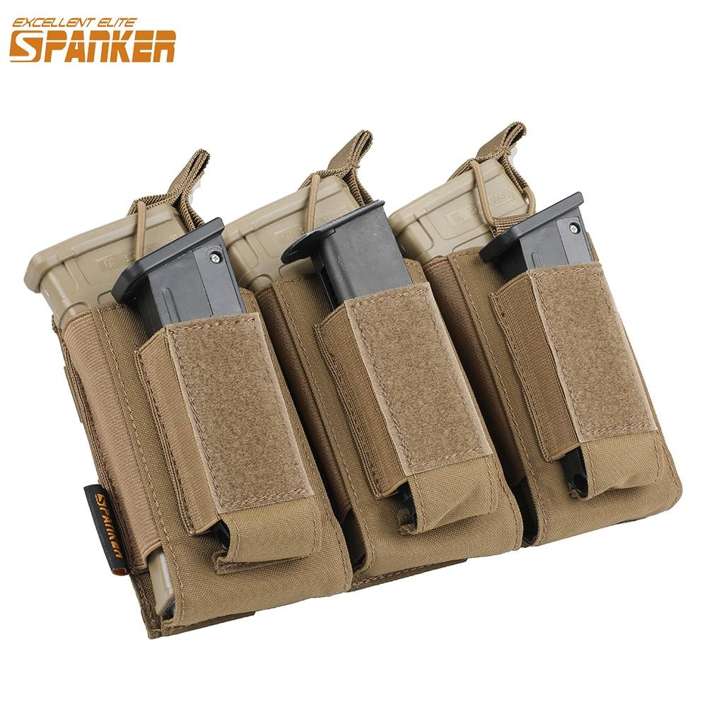 EXCELLENT ELITE SPANKER Tactical Molle Triple Magazine Pouches Military Nylon Clip Bag AK M4 Pistol Paintball Game Accessories