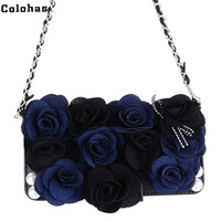 Colohas Luxury 3D Rose Peony Cloth Flower Rosette Flip Wallet Leather Phone Bag For IPhone 5